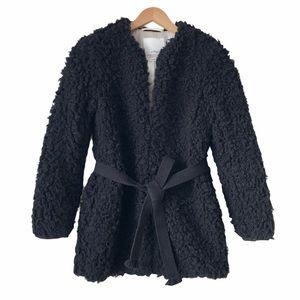 Aritzia Wilfred Black Laboratoire Coat Teddy Fur